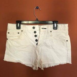 Free People White Cutoff High Waisted Shorts
